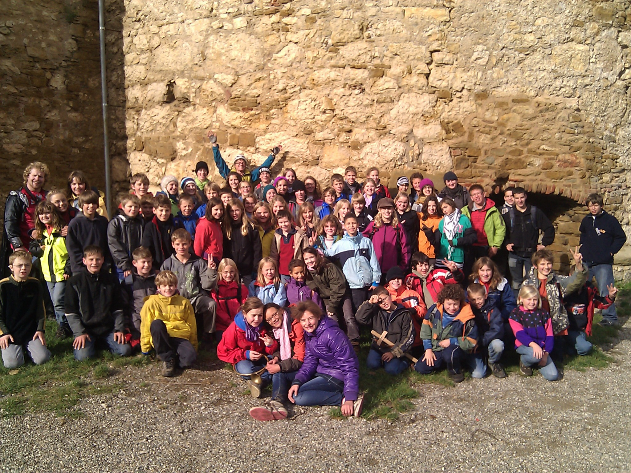 The Jungschar Aadorf Camp group from Weingarten visiting the Landskron Castle on the French-Swiss border.