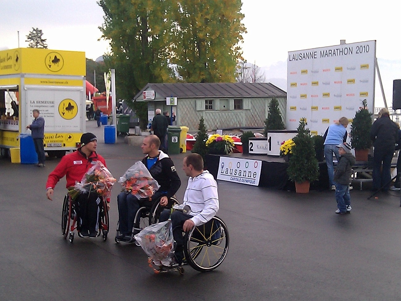 Winners of the wheelchair version of the Lausanne Marathon, which took place today.