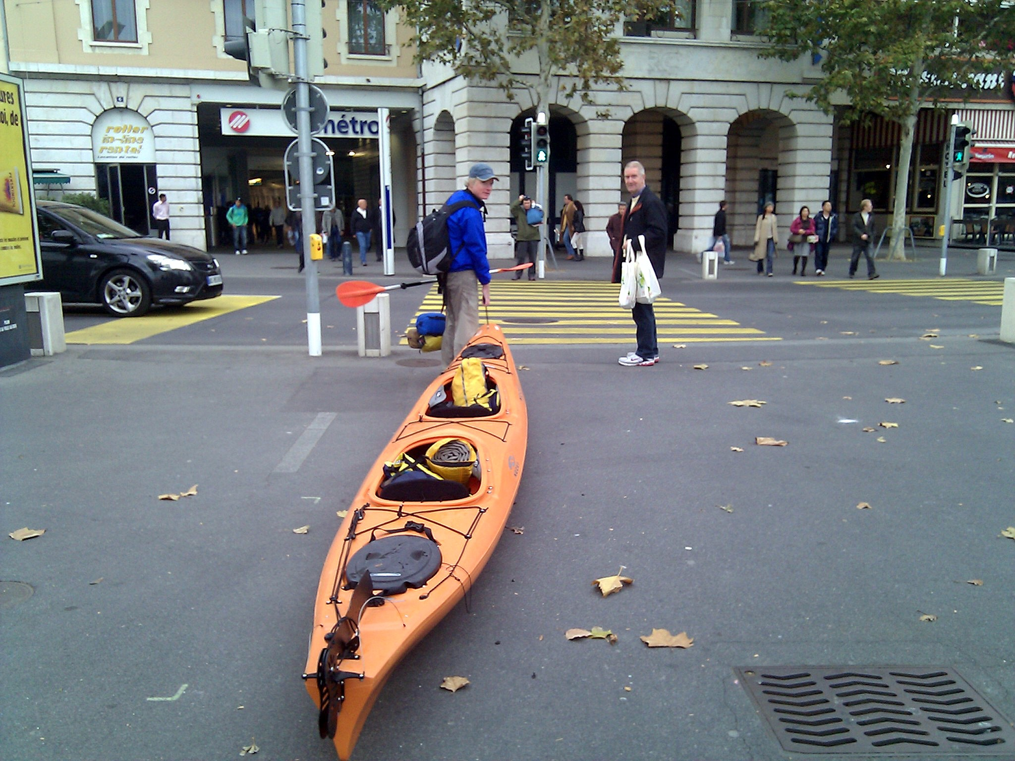 Jay Sherrerd carrying our kayak into the storage space at the Aulac Hotel, where I am staying until Monday morning.