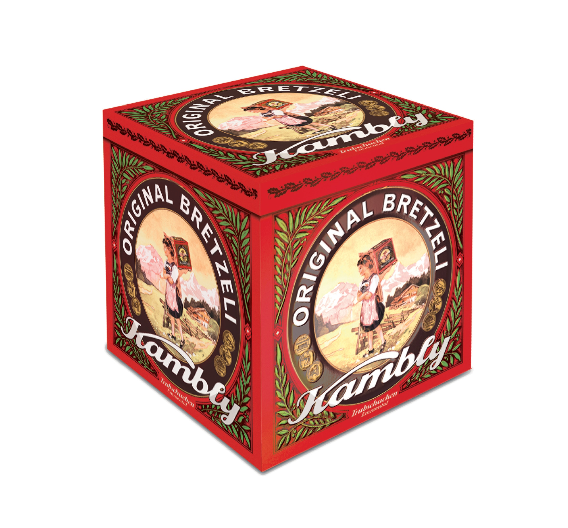 A tin of original Bretzeli - a house specialty going back a century (Kambly)