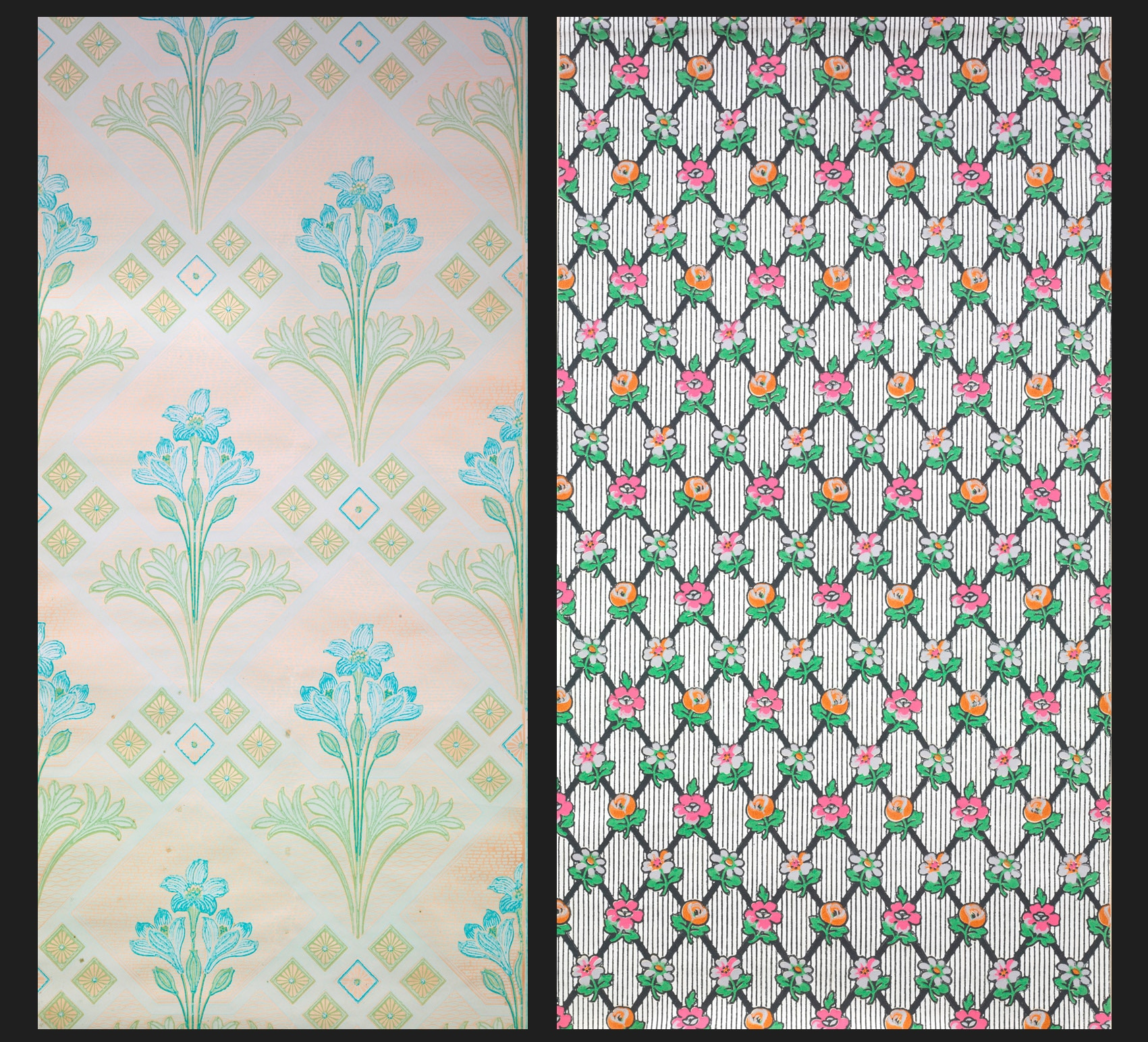 "Wallpaper made by the Zurich firm ""Zum Morgenstern"" from 1900 (left) and Frauenfeld (right) from 1910-1915."