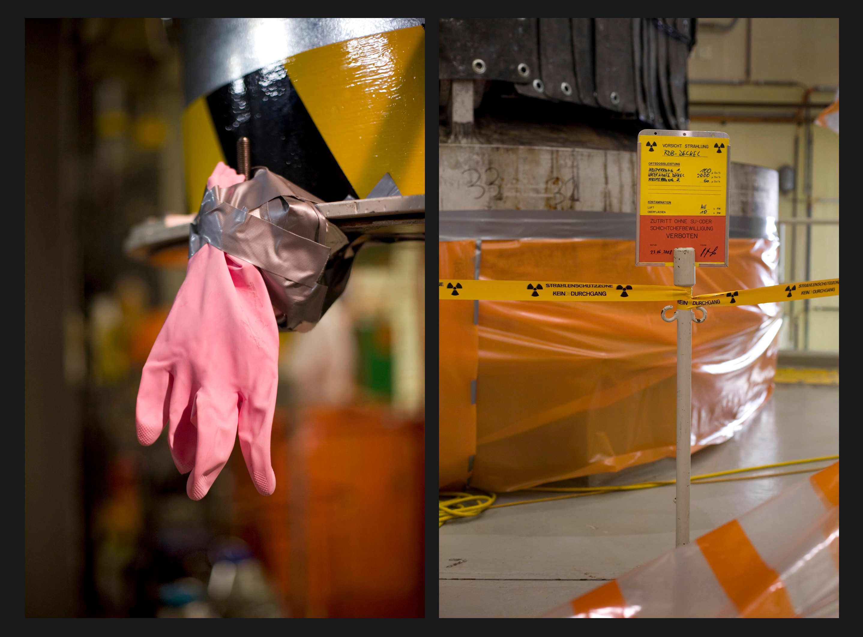 Rubber gloves for additonal protection and marking tape for areas with potentially higher radioactivity in the reactor zone.