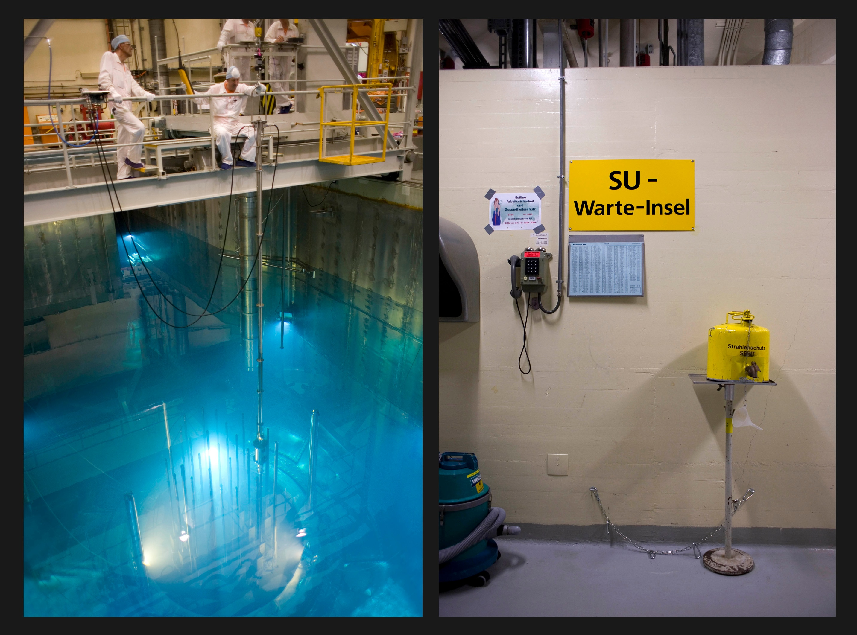 The reactor core is visible inside the open pressure vessel (left). A waiting booth for personnel in the event of an incident.