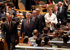 The Swiss delegation, led by Kaspar Villiger, heads to its new seat in the General Assembly