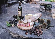 Wine, bread, salami, cheese and chestnuts add up to a traditional meal in Ticino (ST swiss-image.ch)