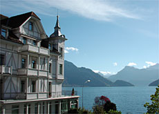 The hotel occupies a prime location on the Lake Lucerne shore