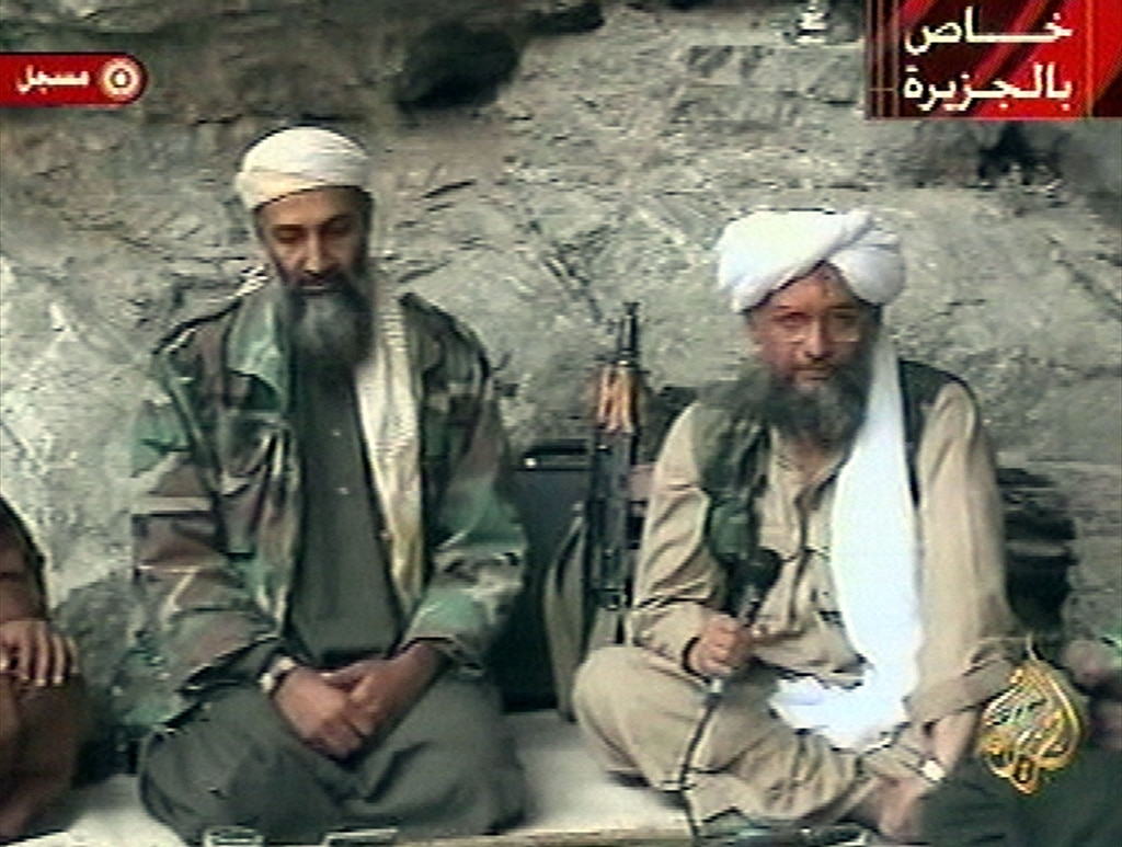 October 7, 2001. Osama bin Laden, the most wanted man in the world, in a hideout with Ayman al-Zawahri, the Al-Qaeda number two. (Keystone/AP Photo/Al Jazeera)