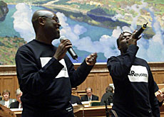 The House of Representatives echoed with the songs of refugees for the appeal launch