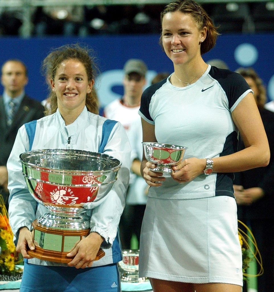 Patty Schnyder triumphant against Lindsay Davenport of the US at the Swisscom Challenge Tennis Tournament in 2002. Schnyder won 6-7,7-6,6-3. (Keystone/Michele Limina)