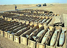 Iraqi mustard bombs found during a previous UN weapons inspection visit (UN)