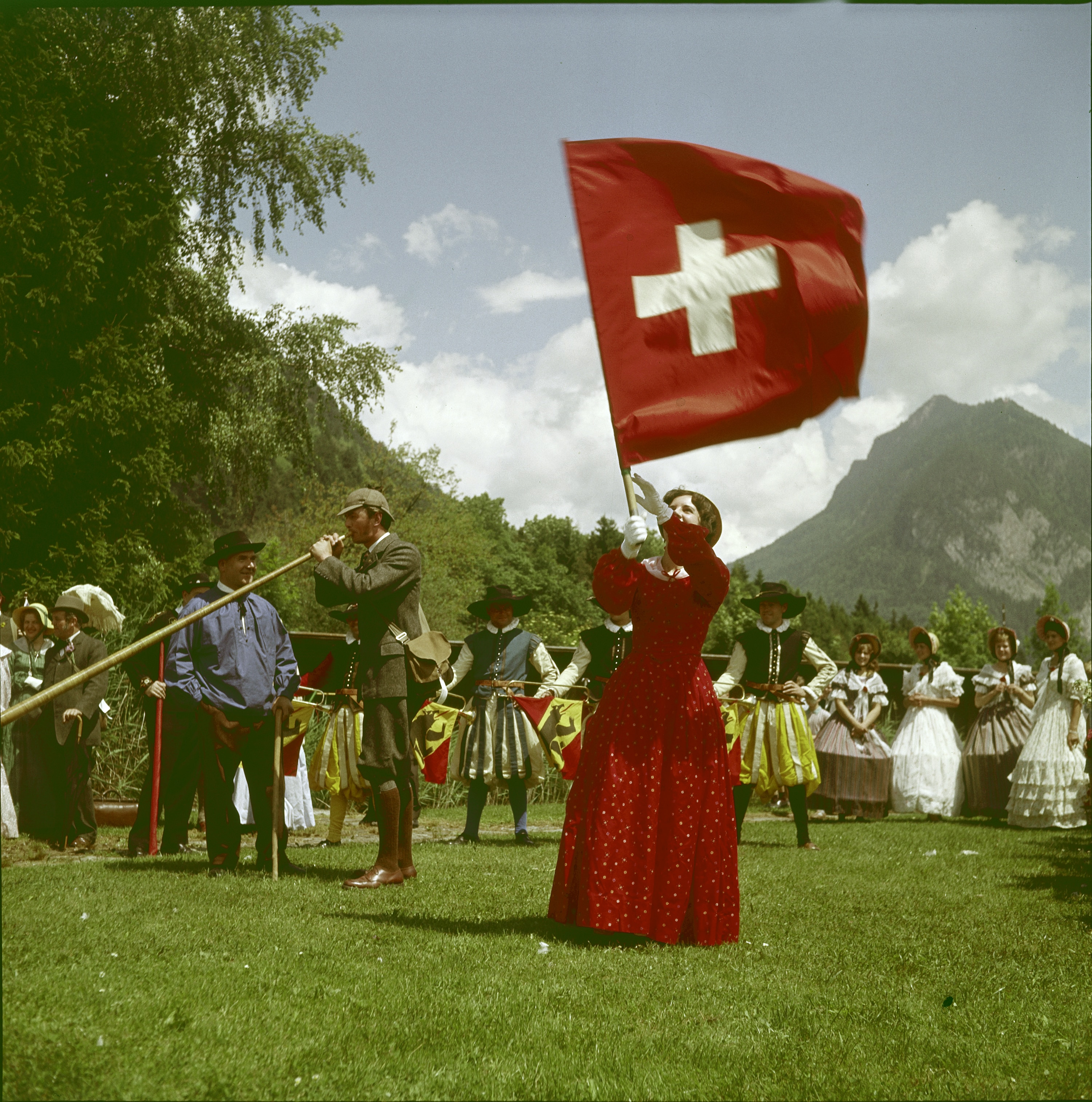 "1963 in Interlaken: An amateur theatre group play out Thomas Cook's 1863 visit to the country in ""The First Conducted Tour of Switzerland"".  (RDB/SI/Siegfried Kuhn)"