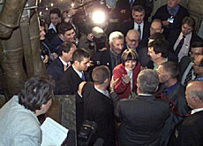 Journalists surround Switzerland's new cabinet minister after the vote