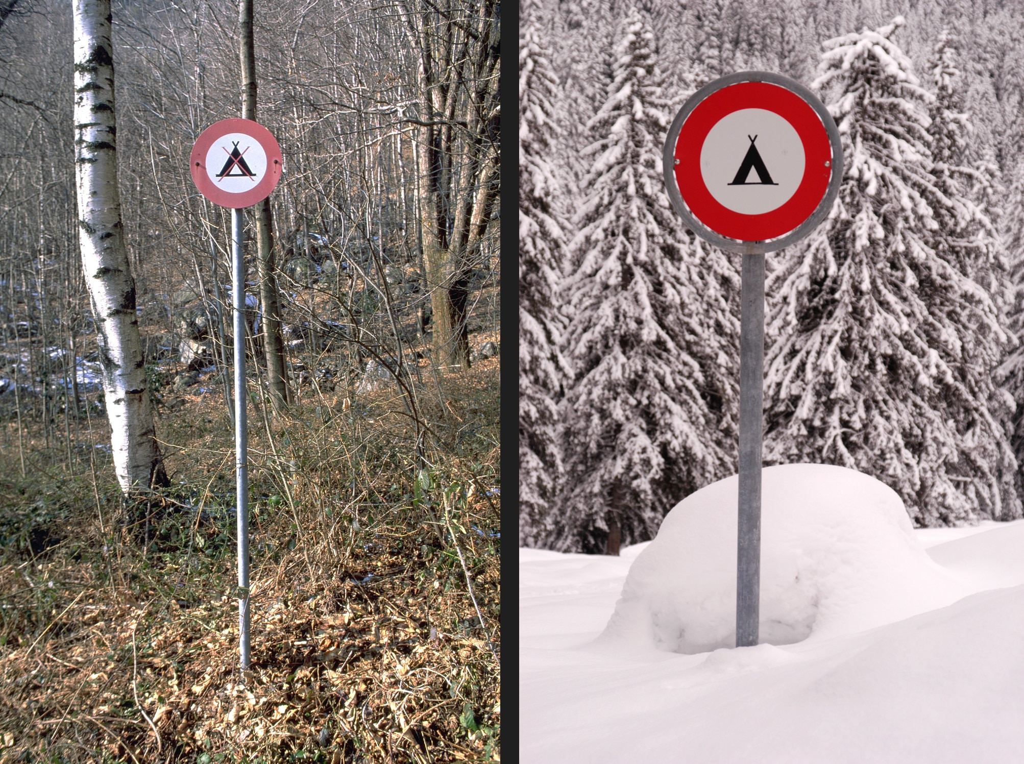 Unknown No Camping sign, 2003 and snowed in Klosters, 2003