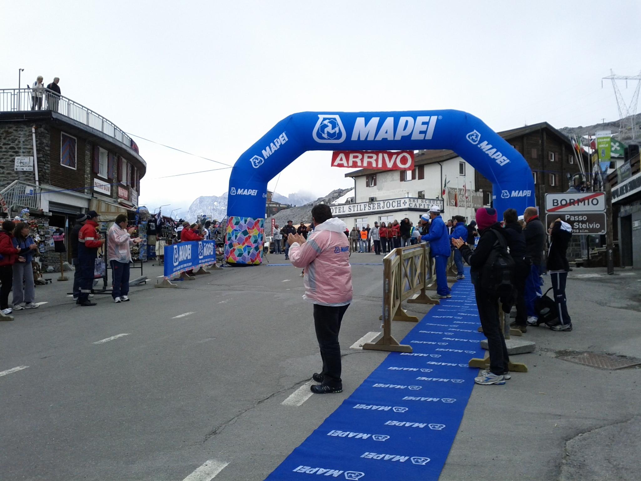 The finish line on Stelvio Pass.