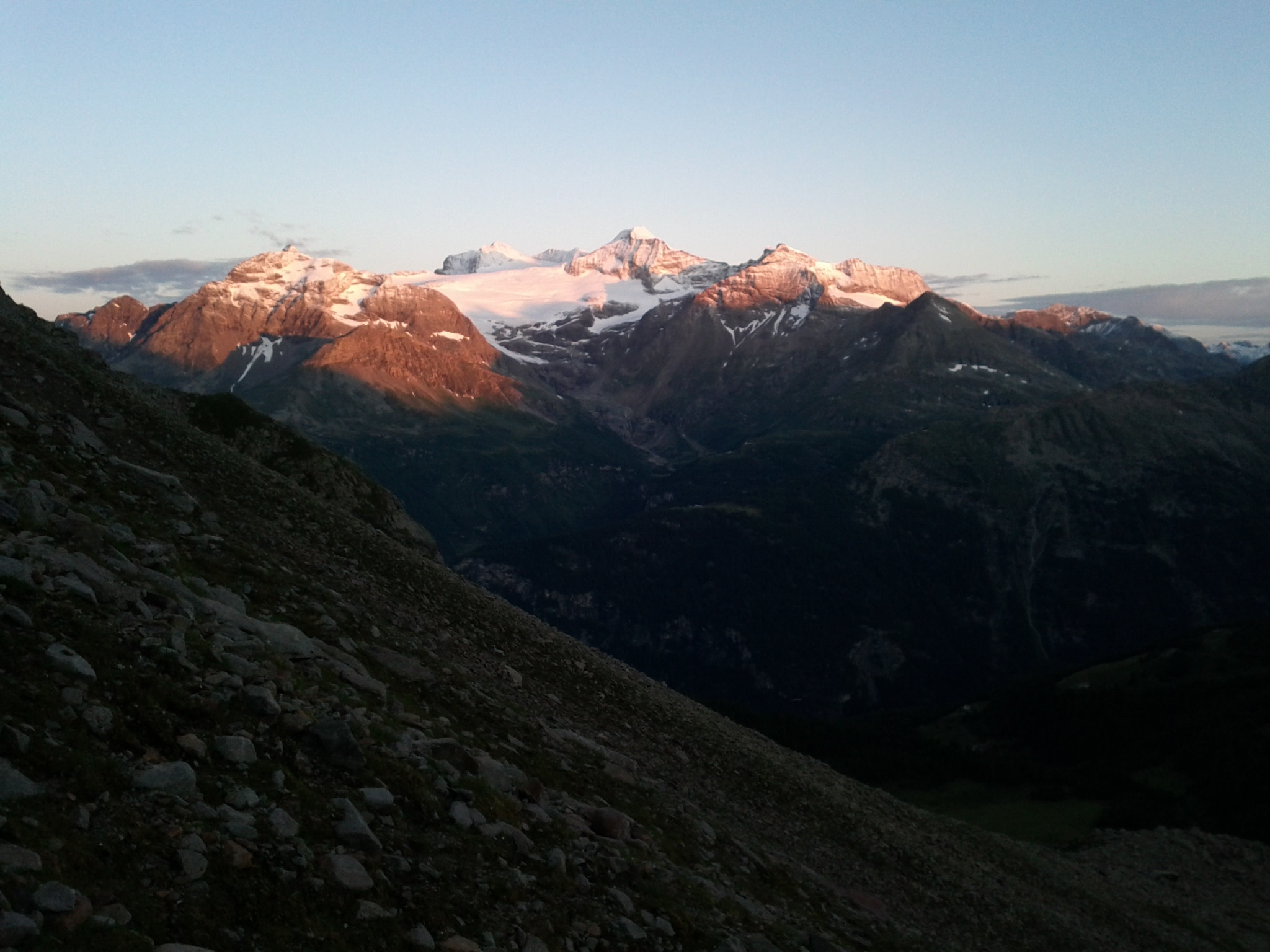 Sunrise over the Bernina group from just above my camp at Lagh dal Teo.