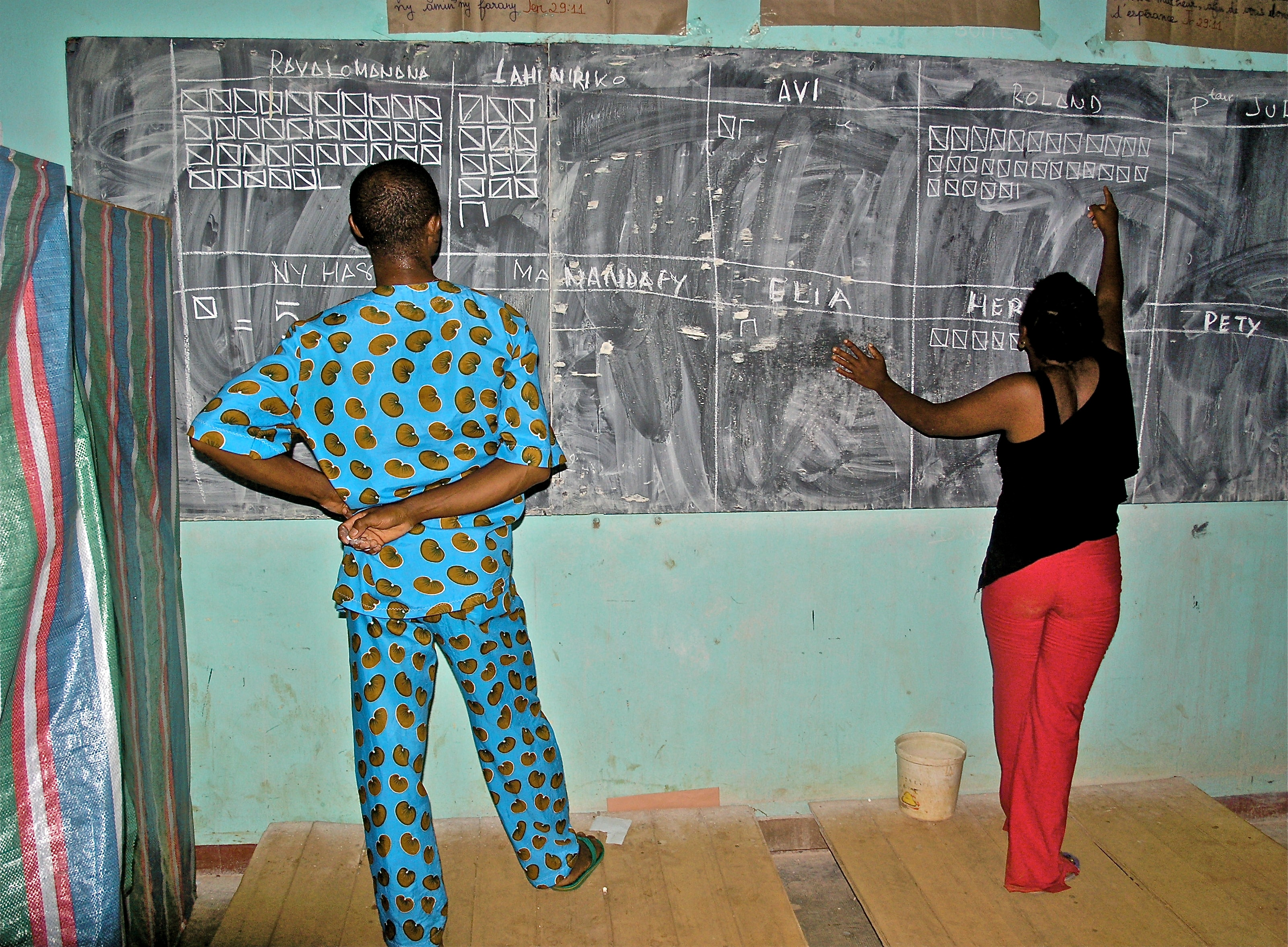 A blackboard at a school in Madagascar is used to list the results from the elections in 2006.