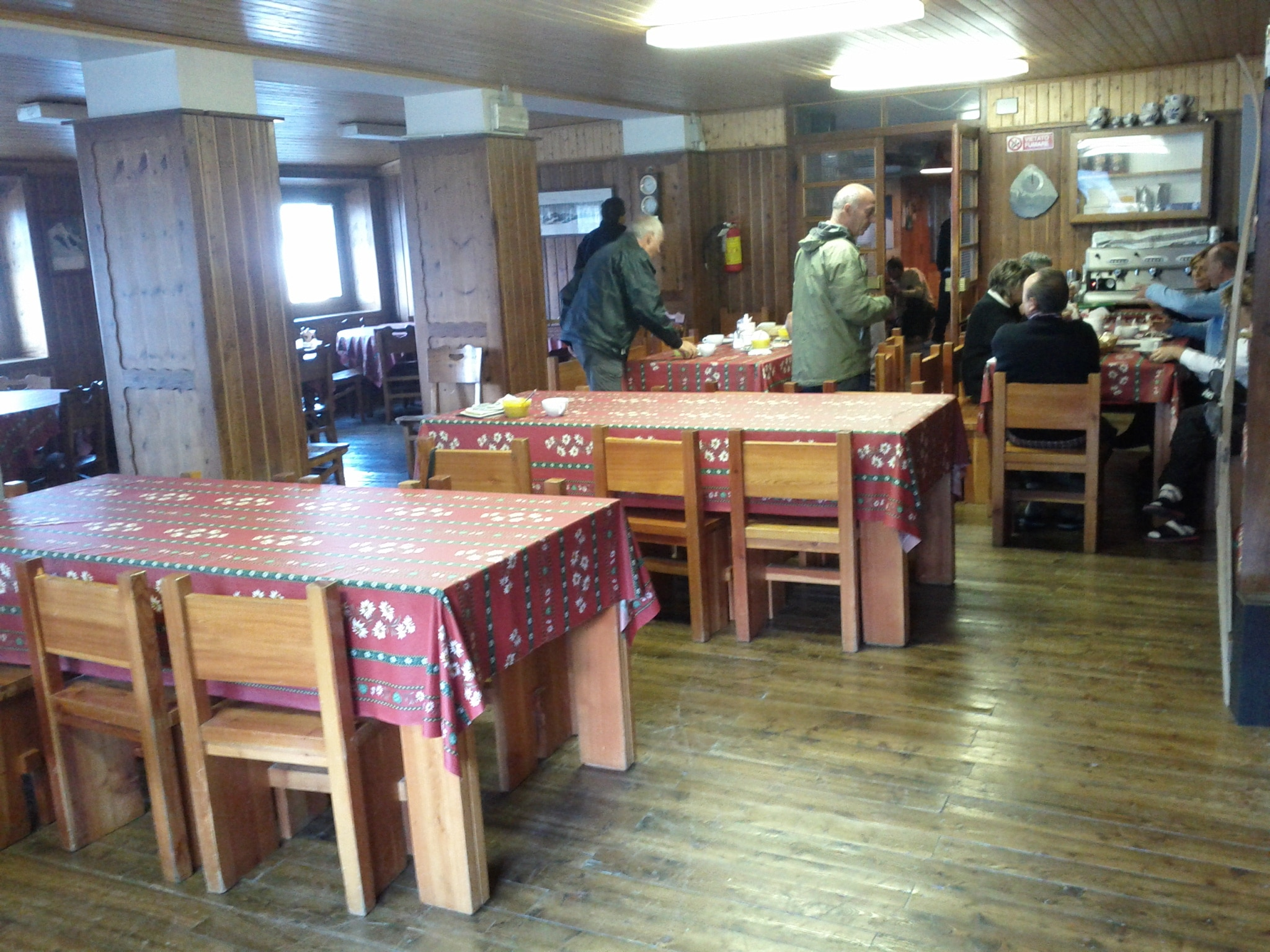 Part of the dining area at the Marinelli hut.
