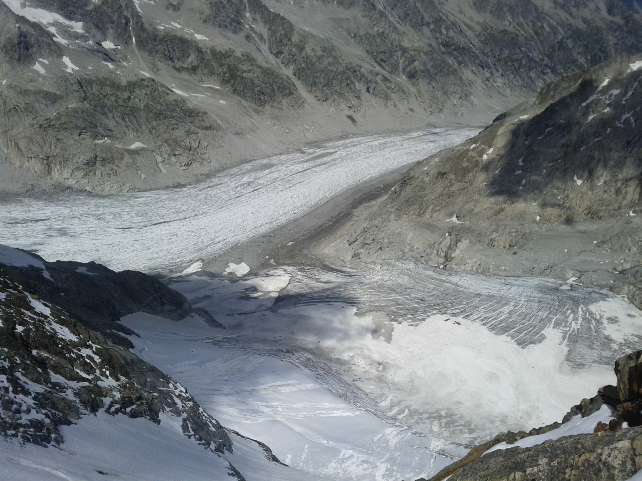 This glacier, the Glacier del Forno, just split into two glaciers about three years ago. It has lost 200 meters in thickness alone in the last 100 years.