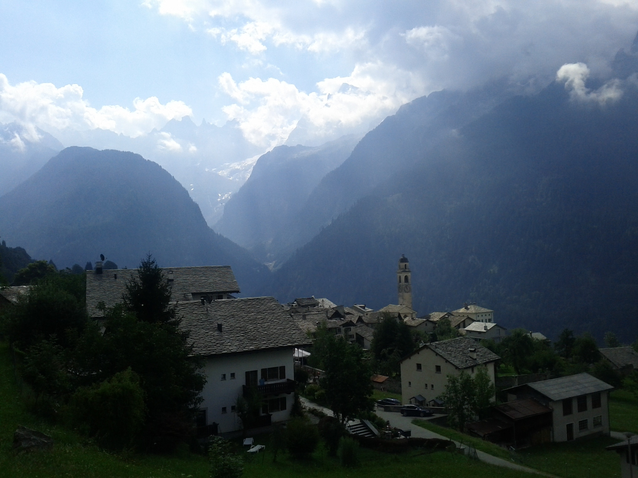 Soglio, on my way up and out of the valley. The Piz Badile is hidden by clouds, but you get a taste of the scale and the ragged granite terrain.