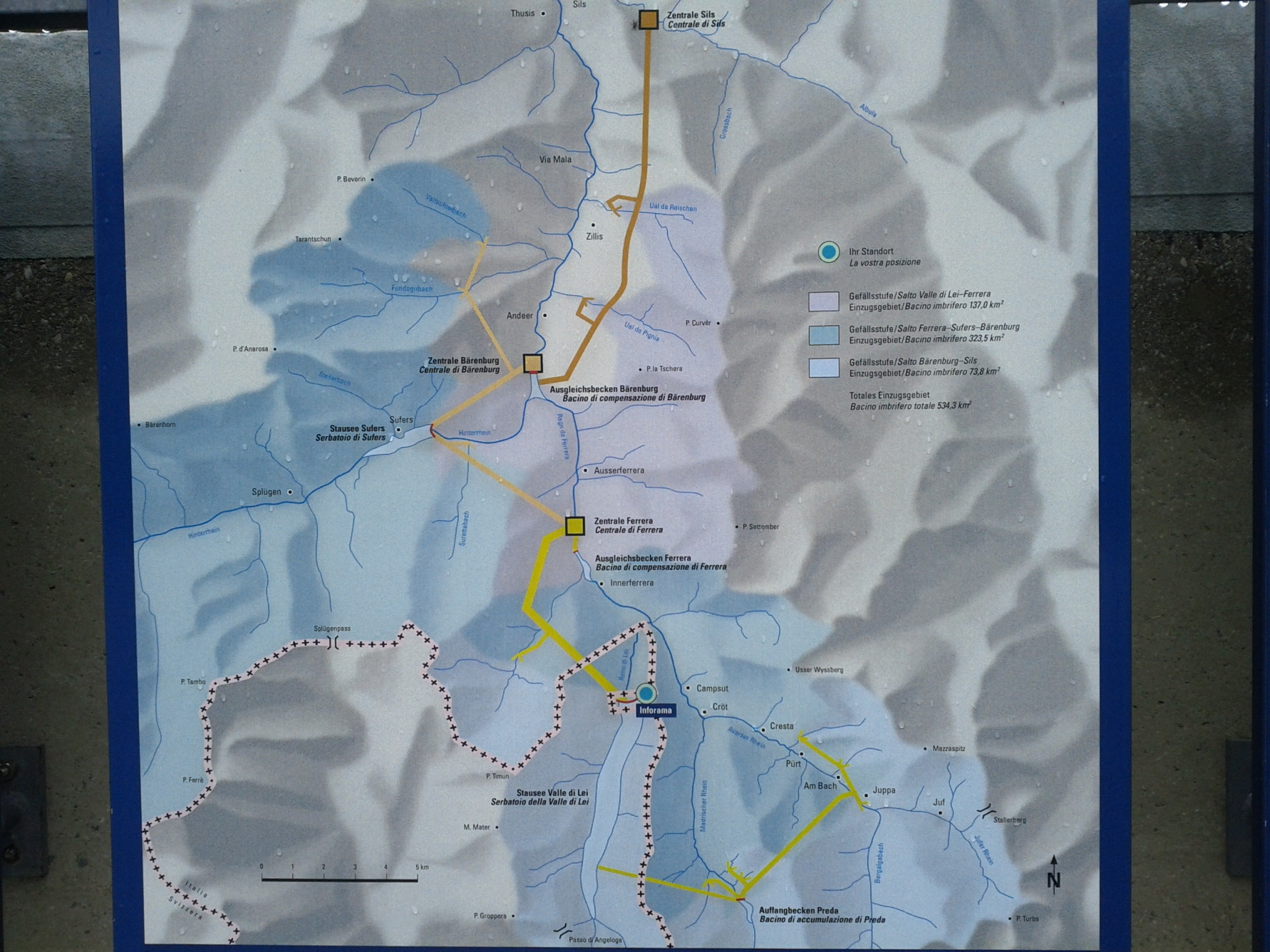 The network of lakes and tunnels that comprises the Lago di Lei hydropower system.