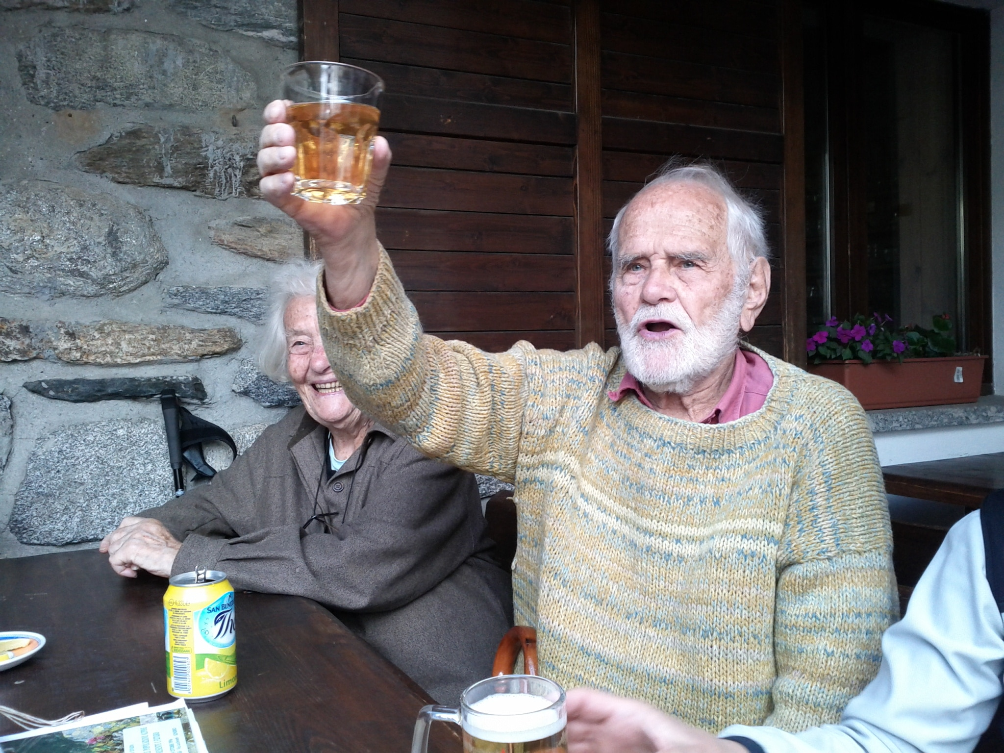 92-year old Linneo Corti toasting to good friends and good times.
