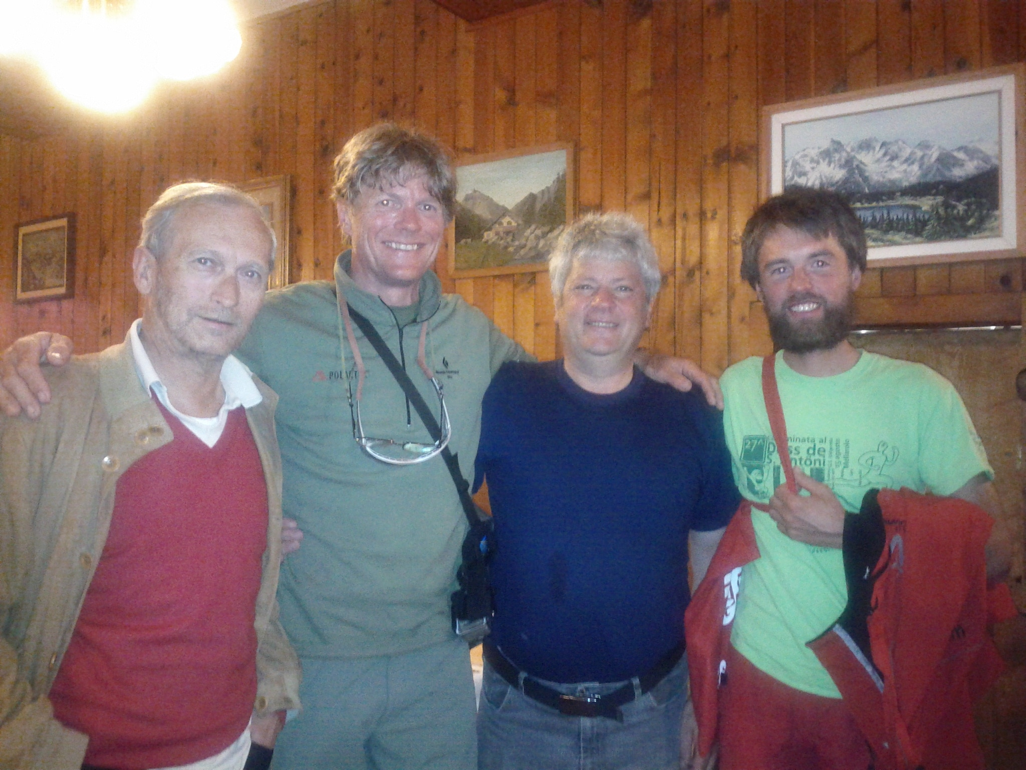 On the left is Angelo Schena, just right of me is the chef and owner of the Hotel Chiareggio, Livio Lenatti, and on the far right is Beno, my climbing partner.