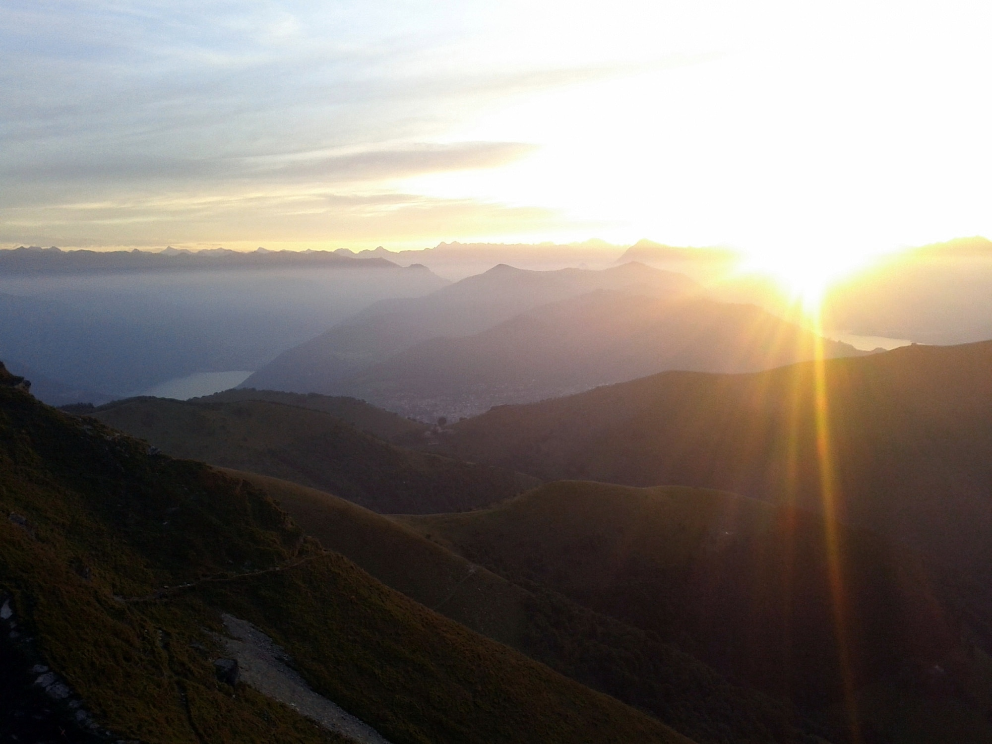 Sunrise on the top of Monte Generoso. The lakes below are Como and Lugano.