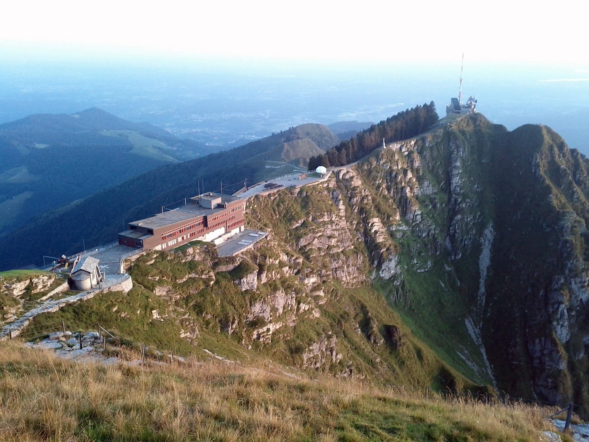 The La Vetta restaurant and the top of the cog railway on Monte Generoso.