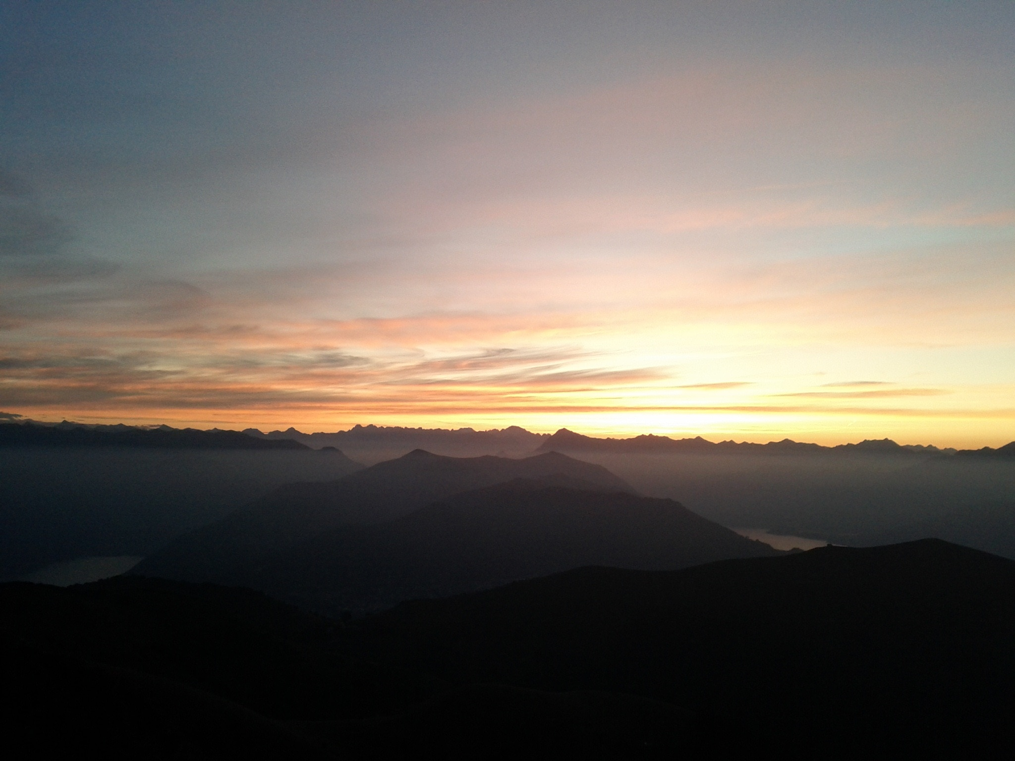 Just before sunrise on the top of Monte Generoso. I traversed over and beside many of these peaks in the last two weeks.