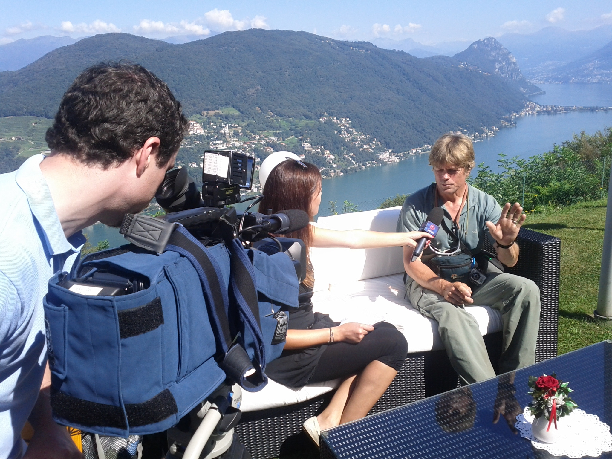 Being interviewe​d on Ticino television in Serpiano.