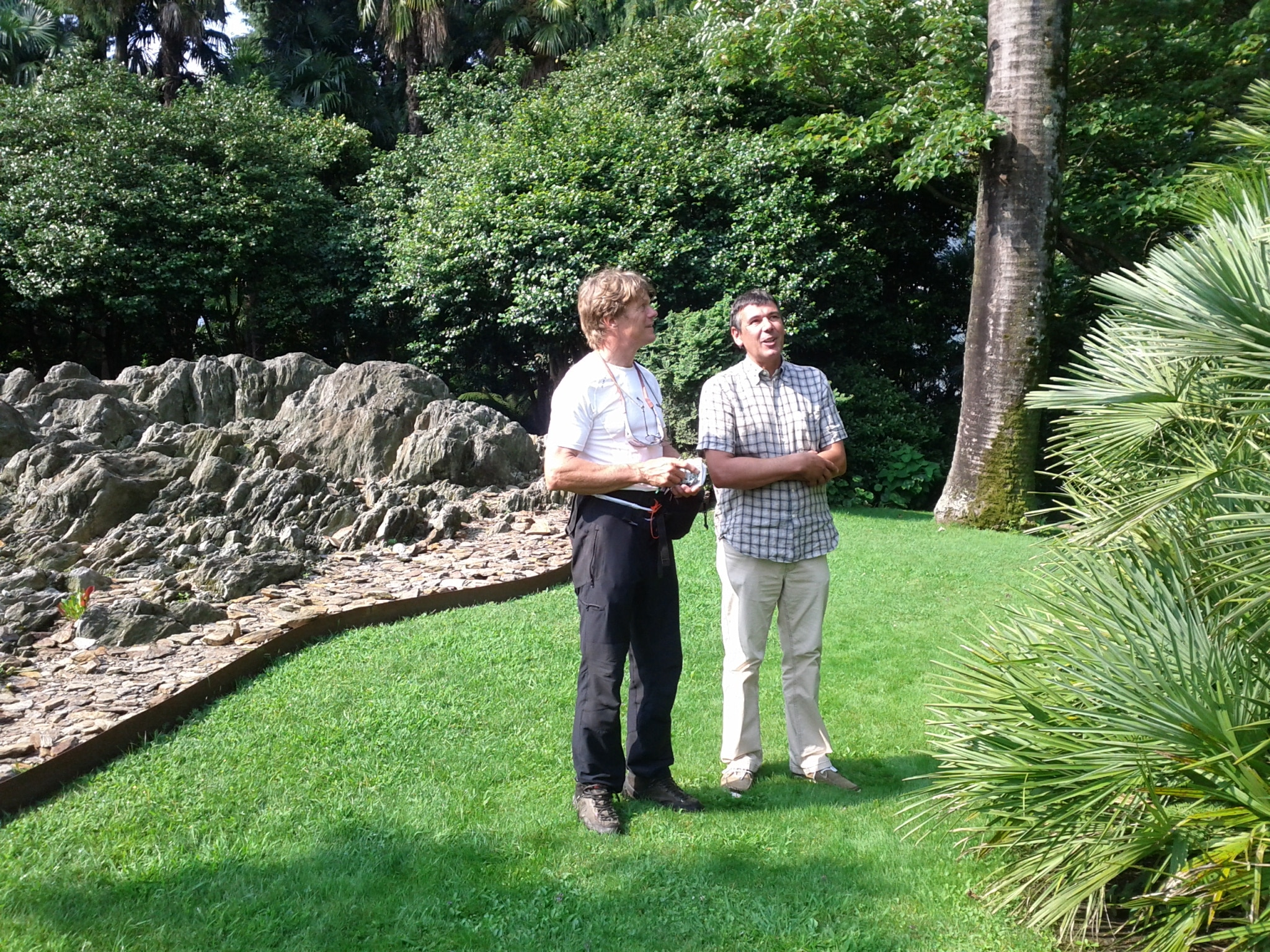 Guido Maspoli, the director of the botanical gardens on the islands of Brissago, showing me some of the tropical gardens.