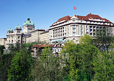The Bellevue is located next to the federal parliament.