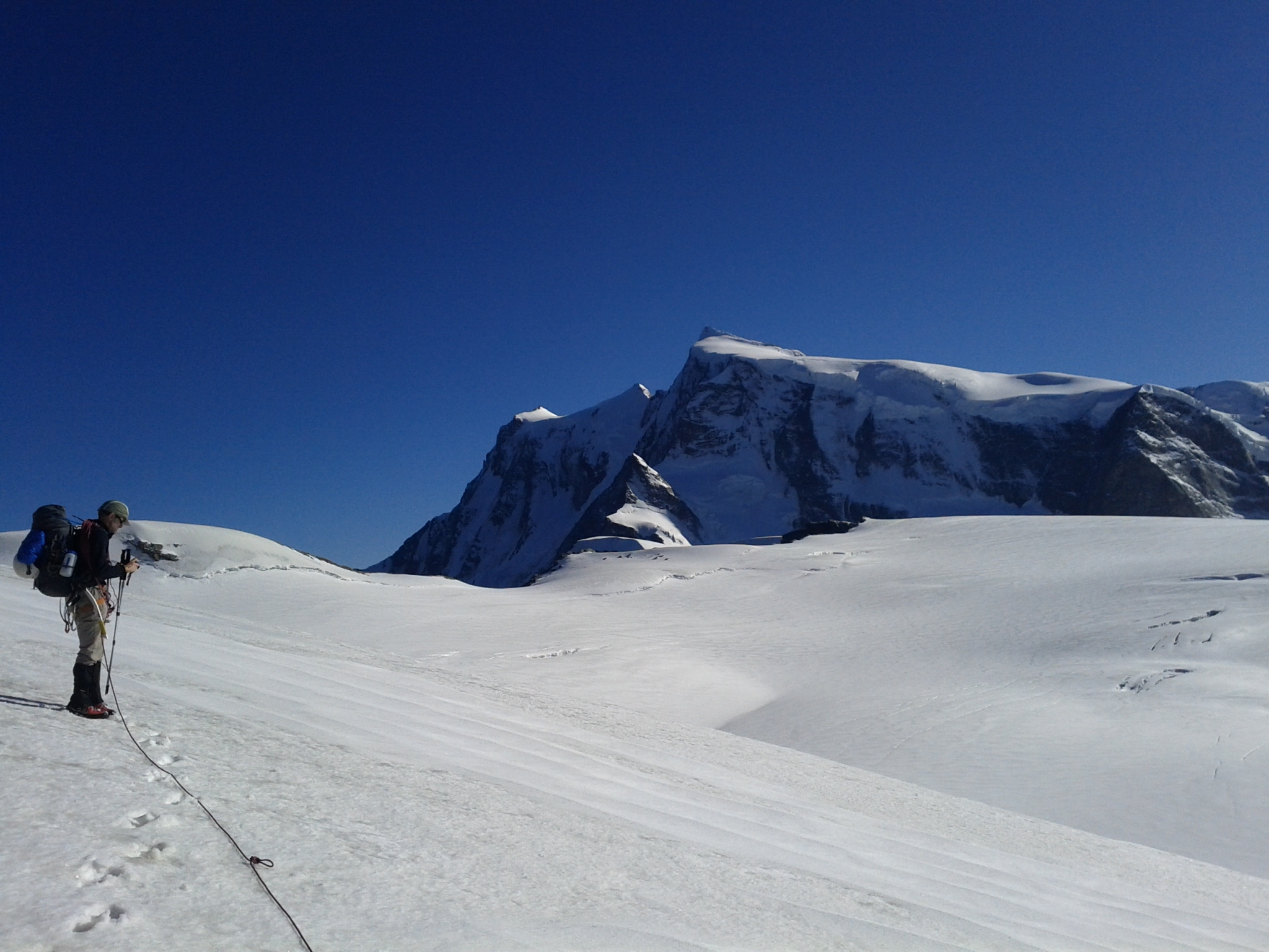 Here is where we decided our intended route on the border leading to Nordend on Monte Rosa looked like too hard a climb.
