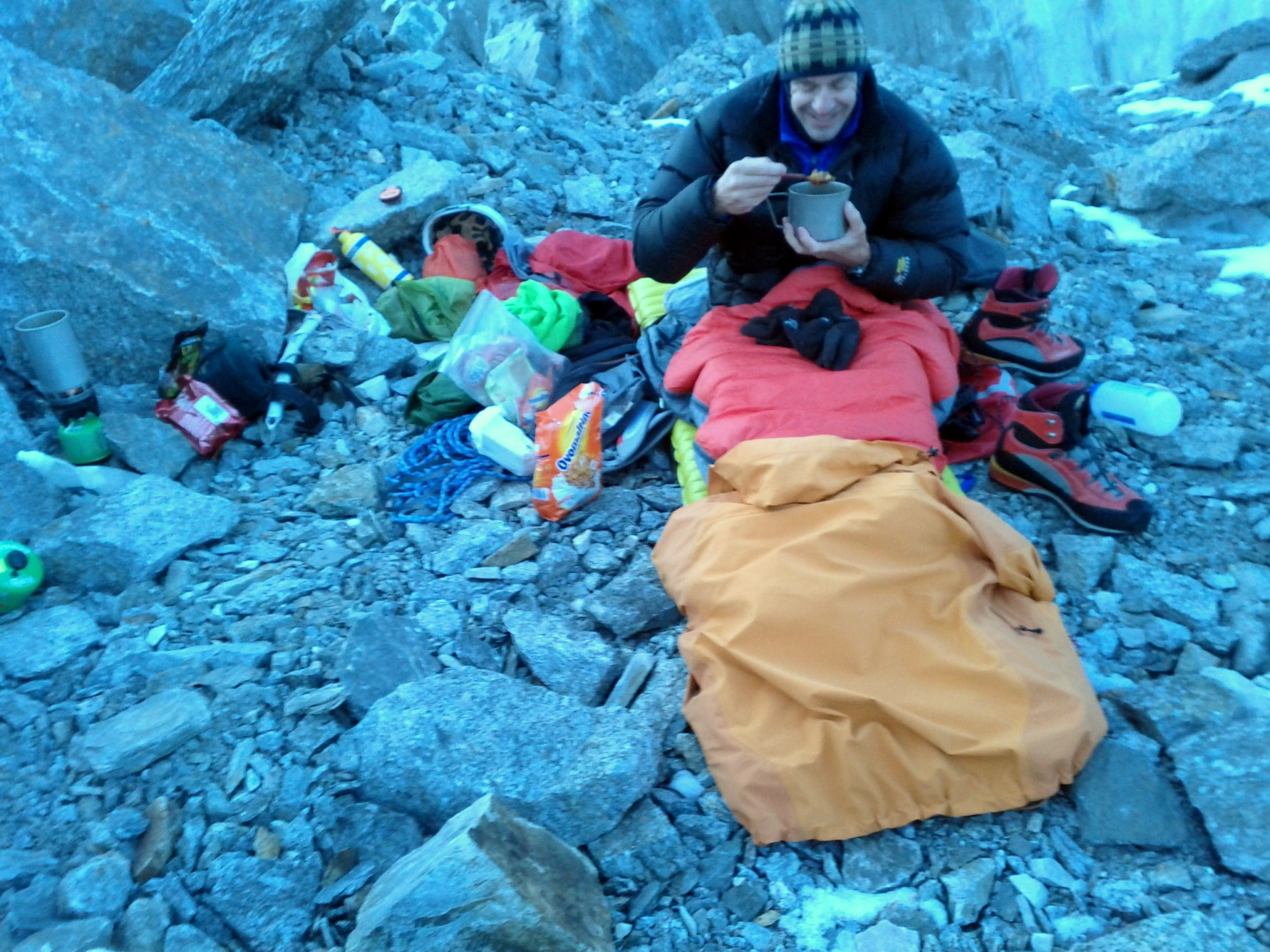 The pile of ropes and pack next to John Bird was my bed at 3200m on Monte Rosa.