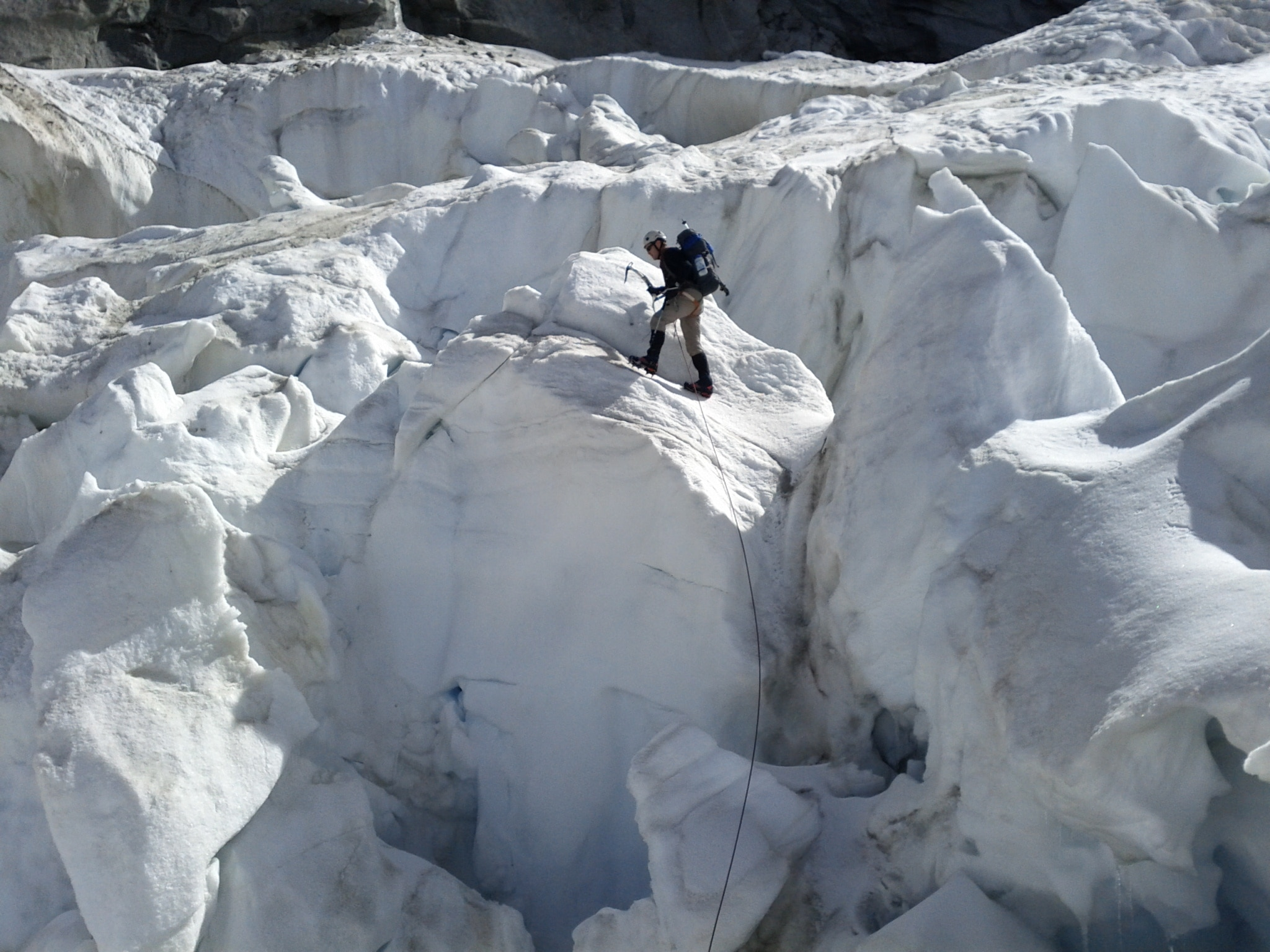 The lower glacier on Monte Rosa was a maze of crevasses