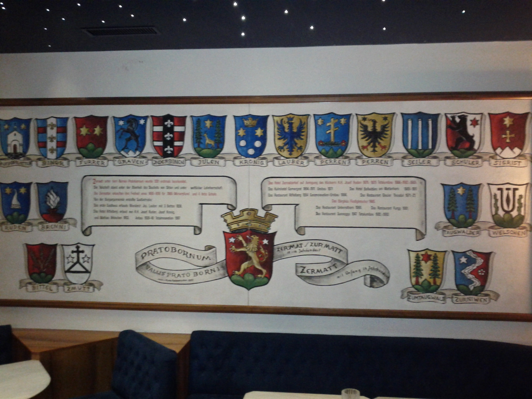 The family crests of the burghers who built the five star Zermatterh​of Hotel, which is not where we're staying.