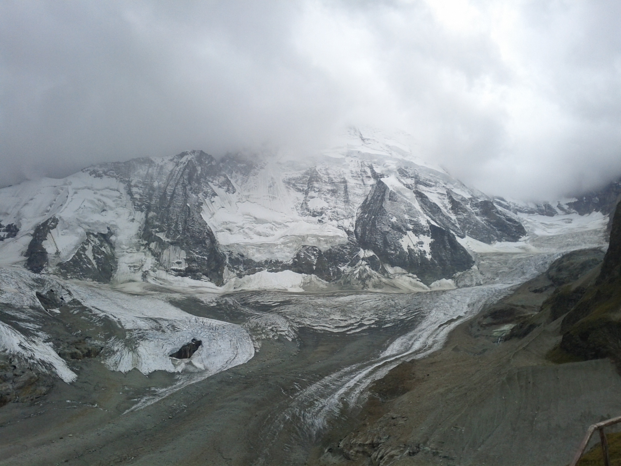One of the many weather moods on the Matterhorn while I was writing on the deck at the Schönbiel​hütte.