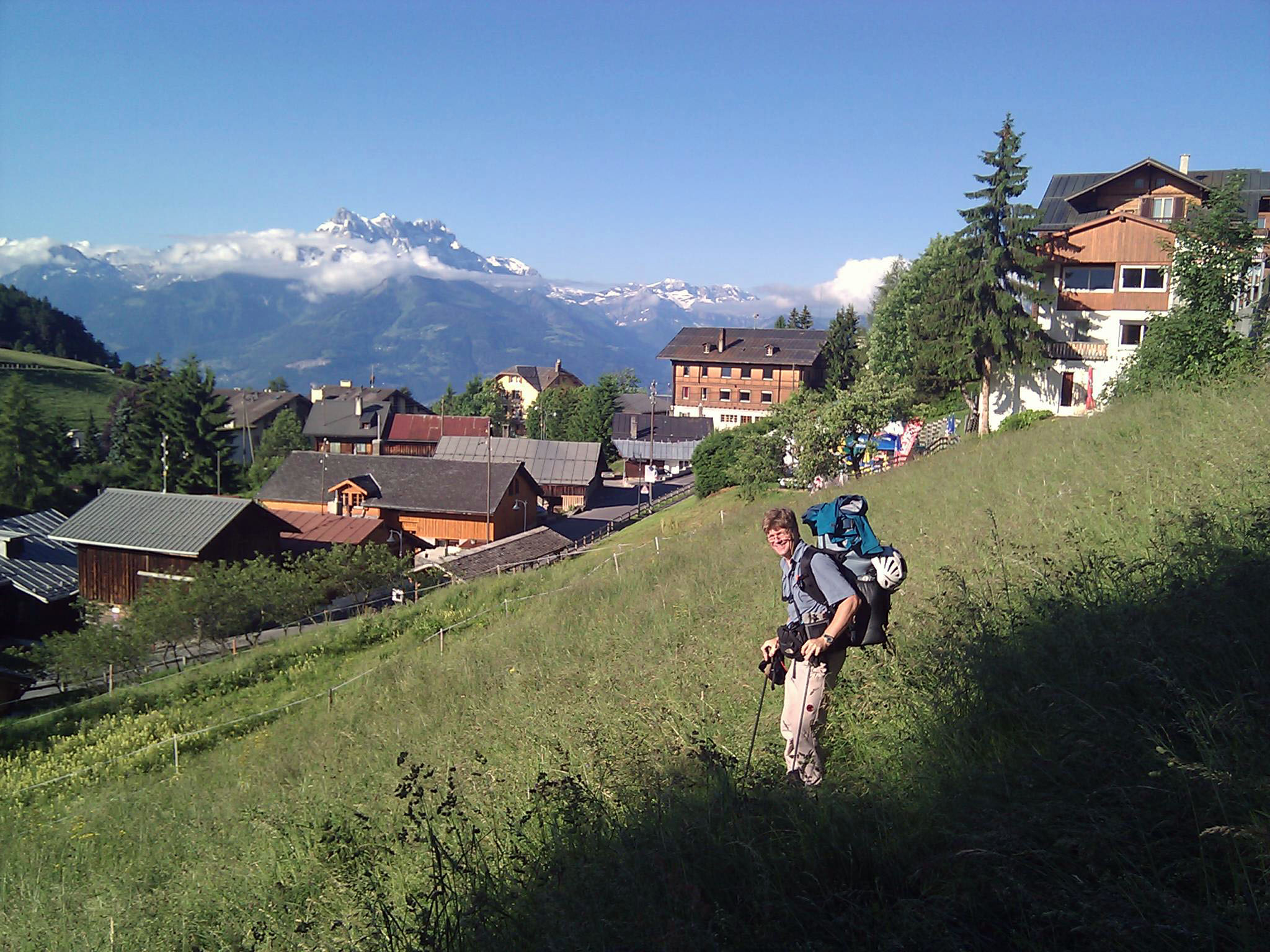 "June 22, 2010: ""Starting out! That's my old school in Leysin, with the Dents du Midi behind. Can you see why I loved this place?"""