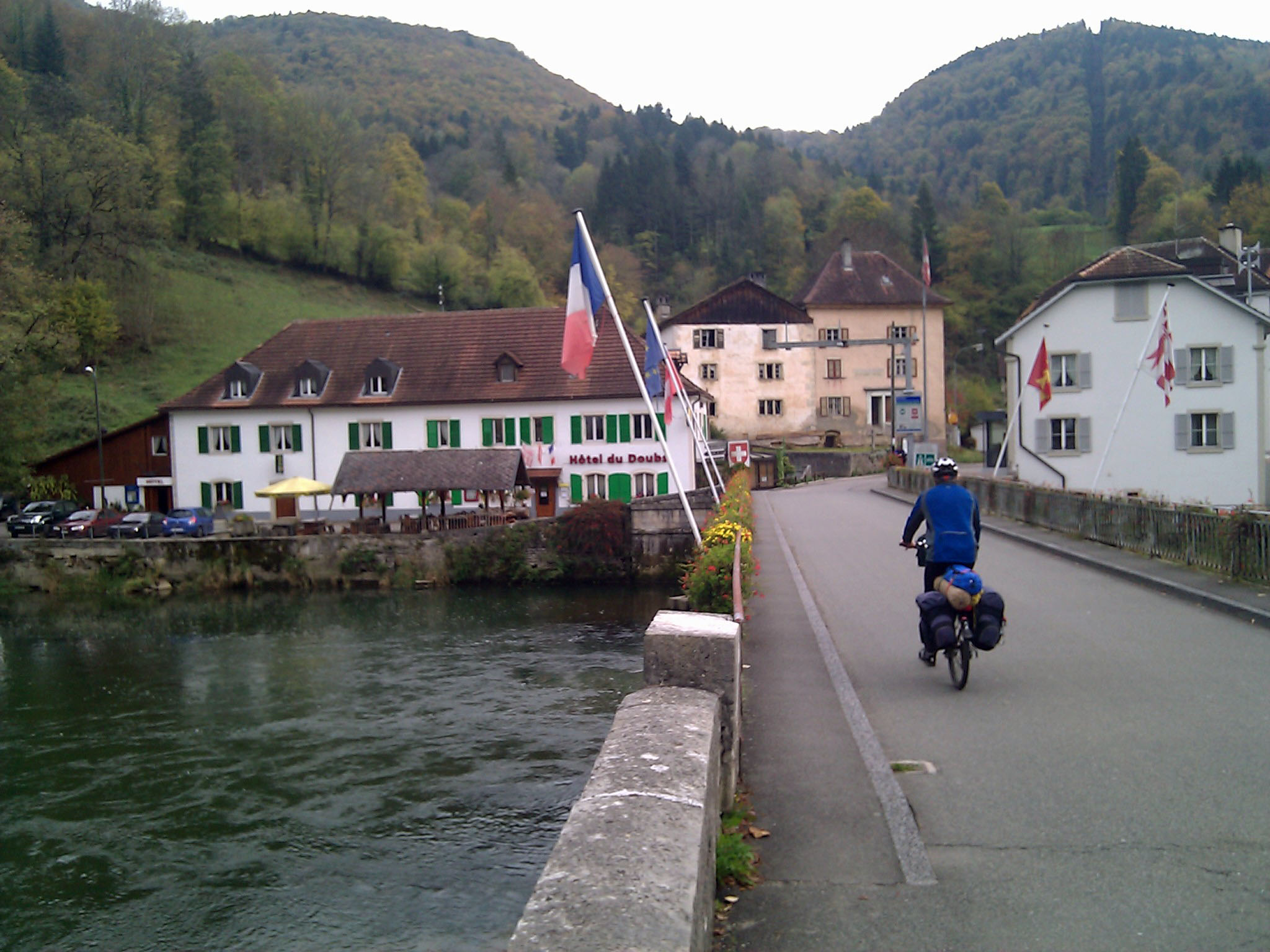"October 22, 2010: ""Crossing the bridge between the two Goumois - F​rench and Swiss - whe​re we enjoyed frogs and trout for lunch."""