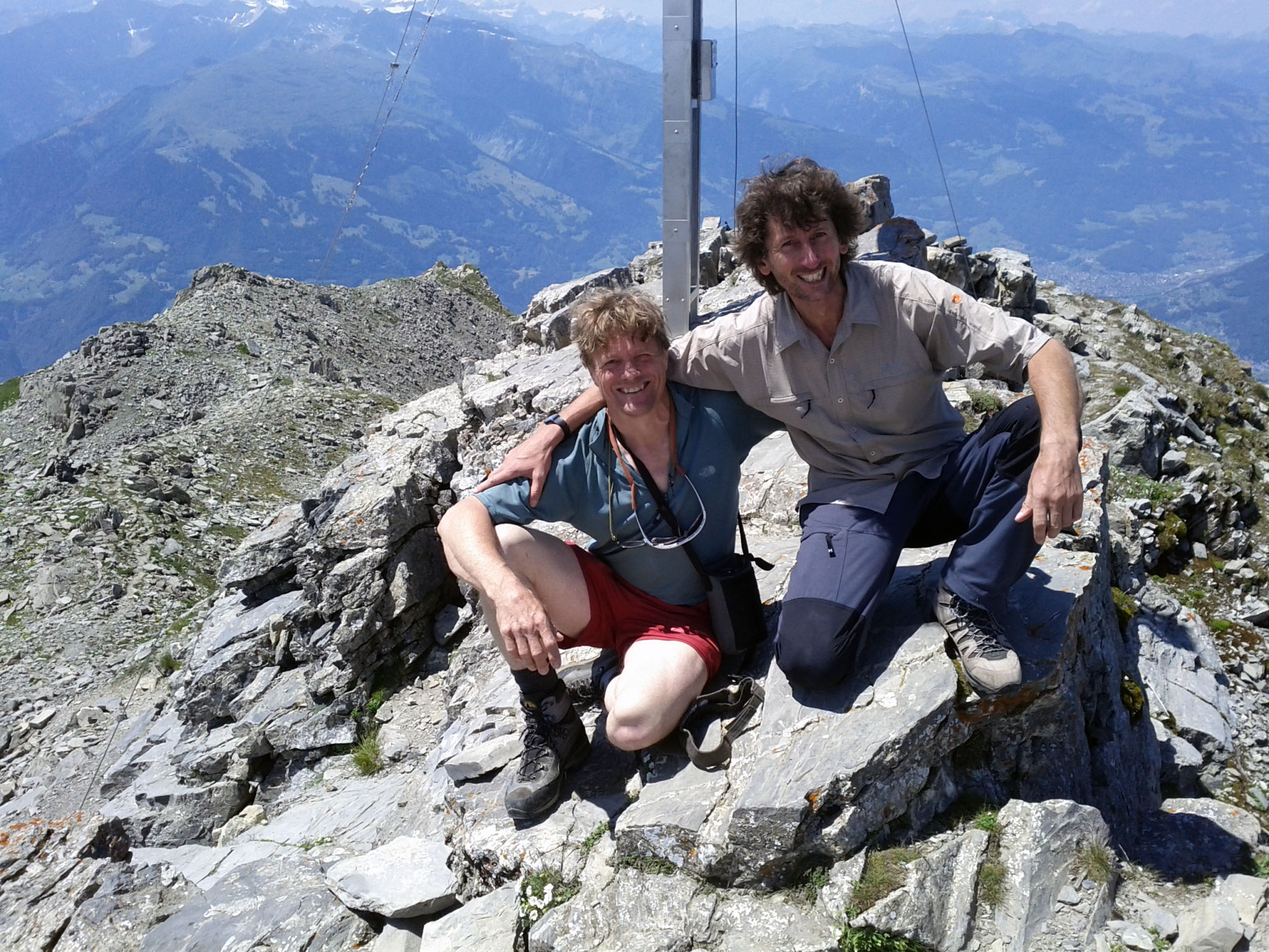 "July 6, 2011: ""Andrea and me on the summit of Falknishor​n."" (In 1992, Andrea Vogel was the first to circle Switzerland following its borders)"