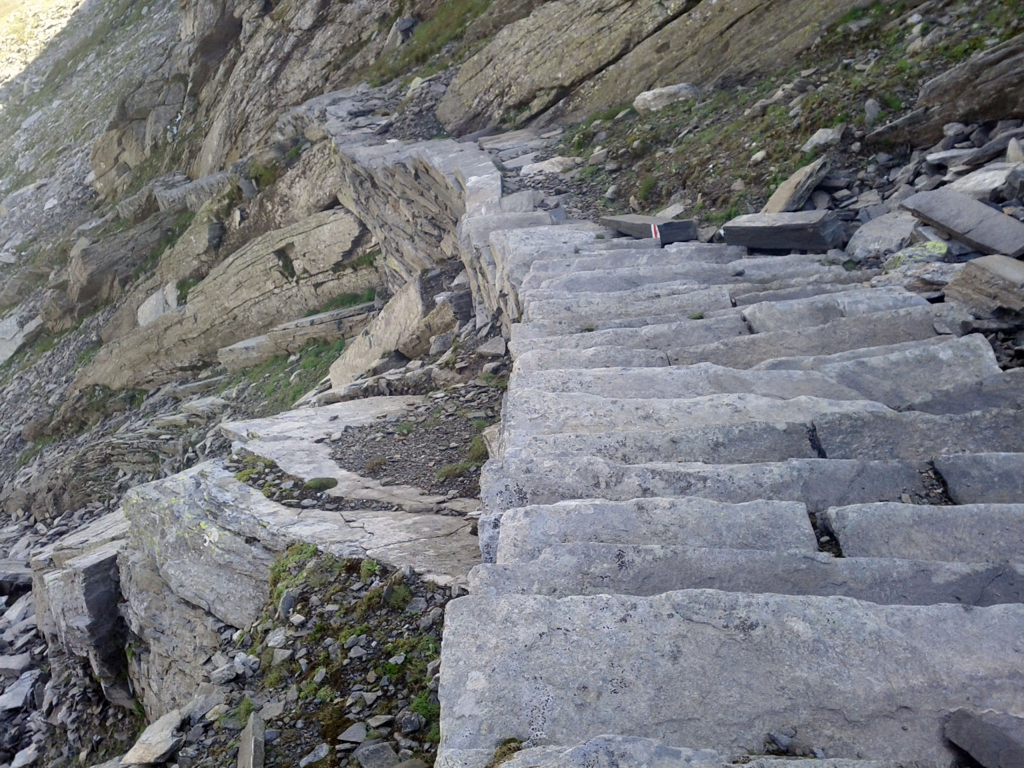 "August 4, 2011: ""The cow trail. This walkway was a complete mystery to me until a hiker explained that it was built to walk cows across the pass over to the Bregaglia valley."""