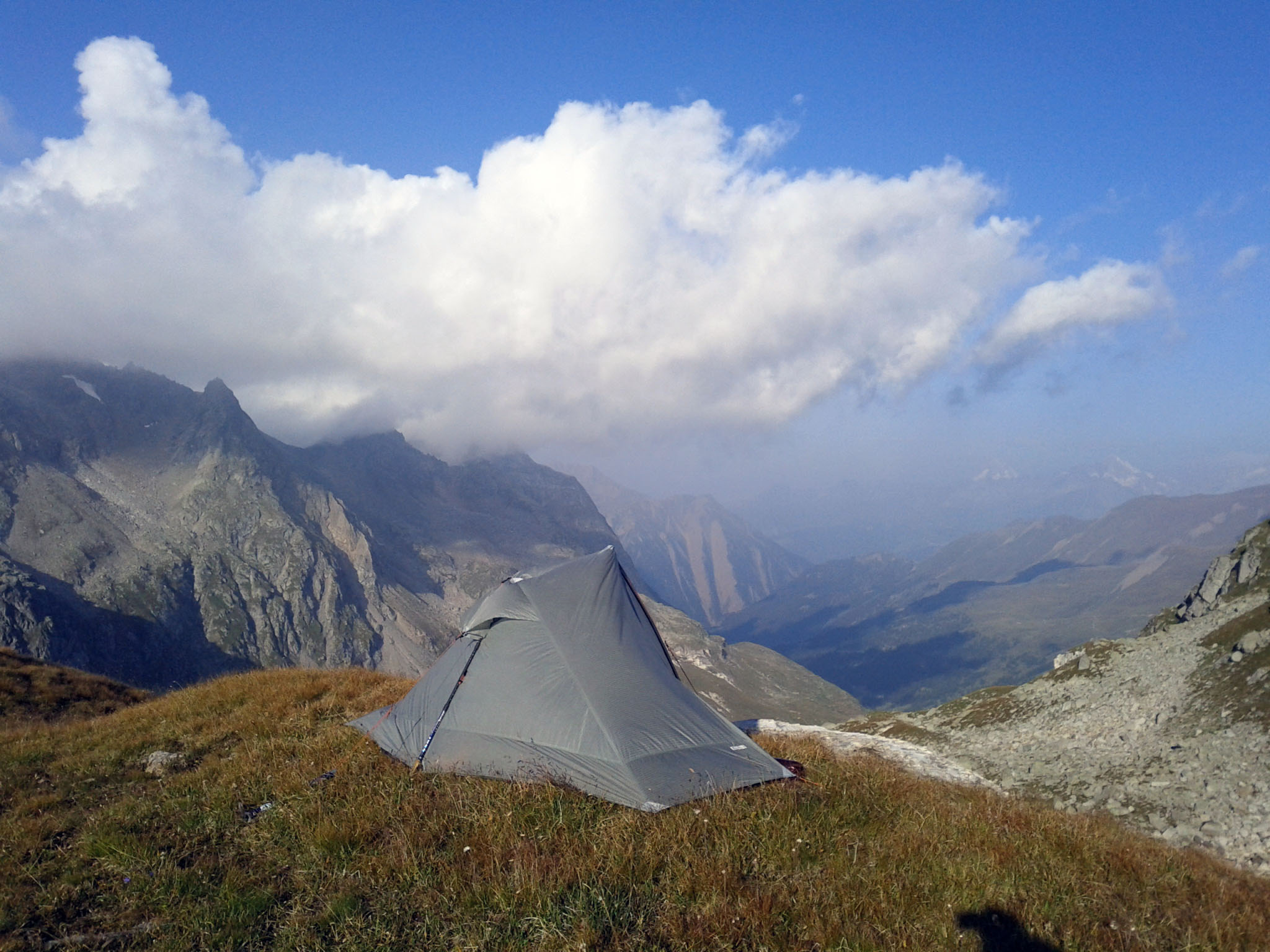 "August 23, 2011: ""My camp at the head of the Binntal valley."""