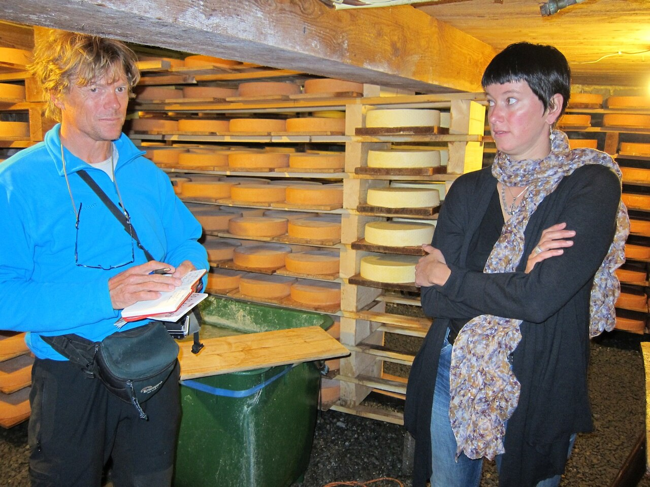 Sabine Coppey showing me the raclette cheese cave