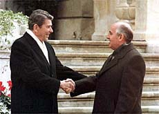 US President Ronald Reagan (left) and Soviet leader Mikhail Gorbachev, meet for the first time in 1985, at Versoix near Geneva