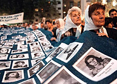 Argentinians protest at the disappearance of thousands under the military dictatorship which ended in 1983