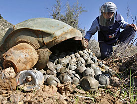 A mine expert inspects a cluster bomb with its bomblets in Lebanon