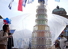 "A ""water tower"" outside parliament symbolising Switzerland's rich resources"