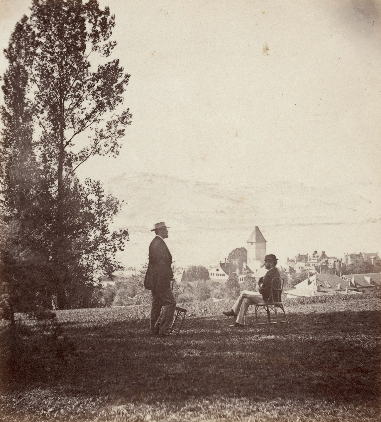Lausanne, view over Ouchy from Le Colibri estate  1868