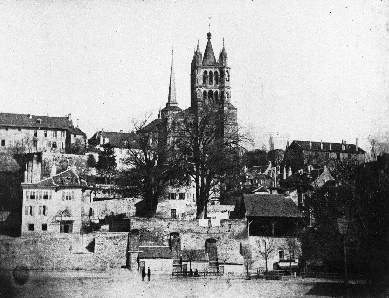 Lausanne, the cathedral and place de la Madeleine from the Riponne  1855-1862