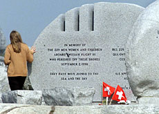 The memorial to the 229 victims in Peggy's Cove, Canada